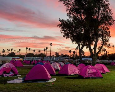 Pink sleeping tents in field