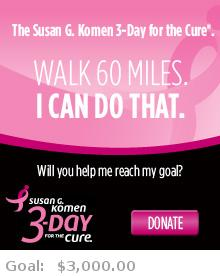 Help me reach my goal for the Susan G. Komen Washington D.C. 3-Day for the Cure!